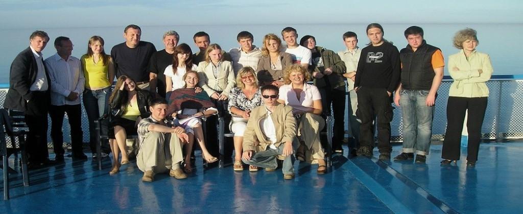 """Участники конкурса фирмы """"VOITH"""" на палубе теплохода. Ладога. Валаам."""